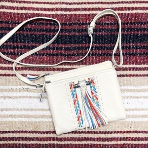 Brighton White Leather Tassel Wallet Crossbody Bag